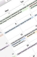 image of Digital DesignLab's training calendar. Click to access the calendar page