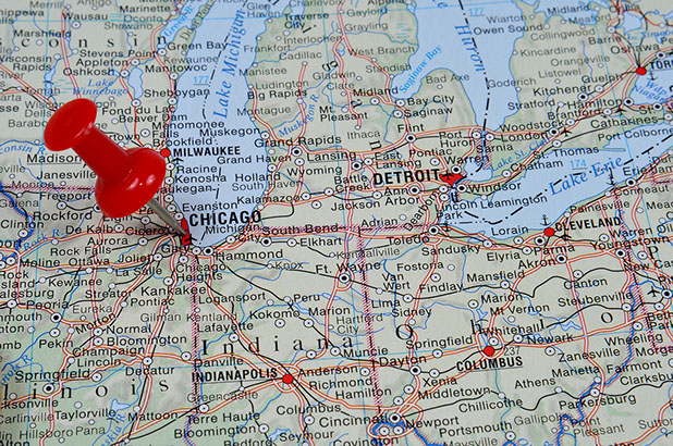 Map of midwestern USA with a pushpin highlighting Chicago, Illinois